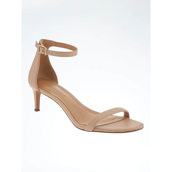 Banana Republic Womens Bare Kitten Heel Sandal ($118) ❤ liked on Polyvore featuring shoes, sandals, mid-heel shoes, mid-heel sandals, mid heel sandals, padded sandals and breathable shoes