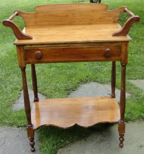 Antique Dry Sink Wash Stand Cabinet One Drawer Table Nice Early Dovetail 2  Way