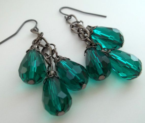 Brilliant Green Dangle Bead Earrings by SpiritSparkleWhimsy