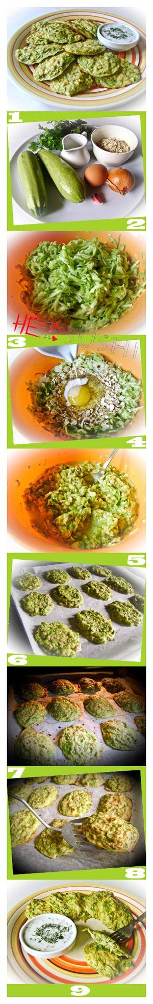 Оригинальный рецепт приготовления оладий из кабачков - с овсяными хлопьями, в духовке.