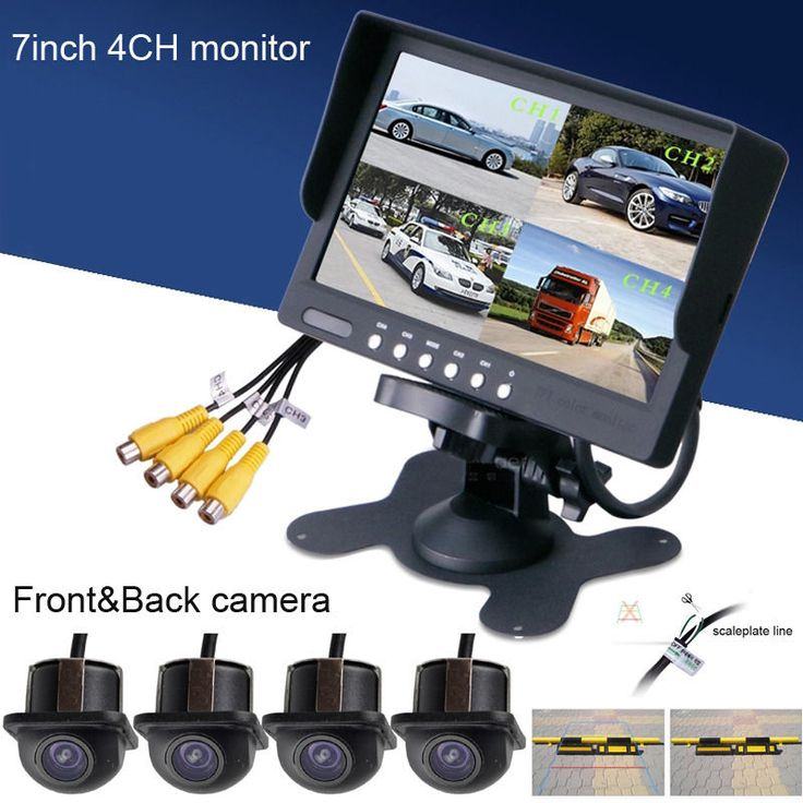 Fochutech Car 360degree 7inch TFT 4Split Quad DVD Screen+Waterproof Rear View Monitor/4Camera kits