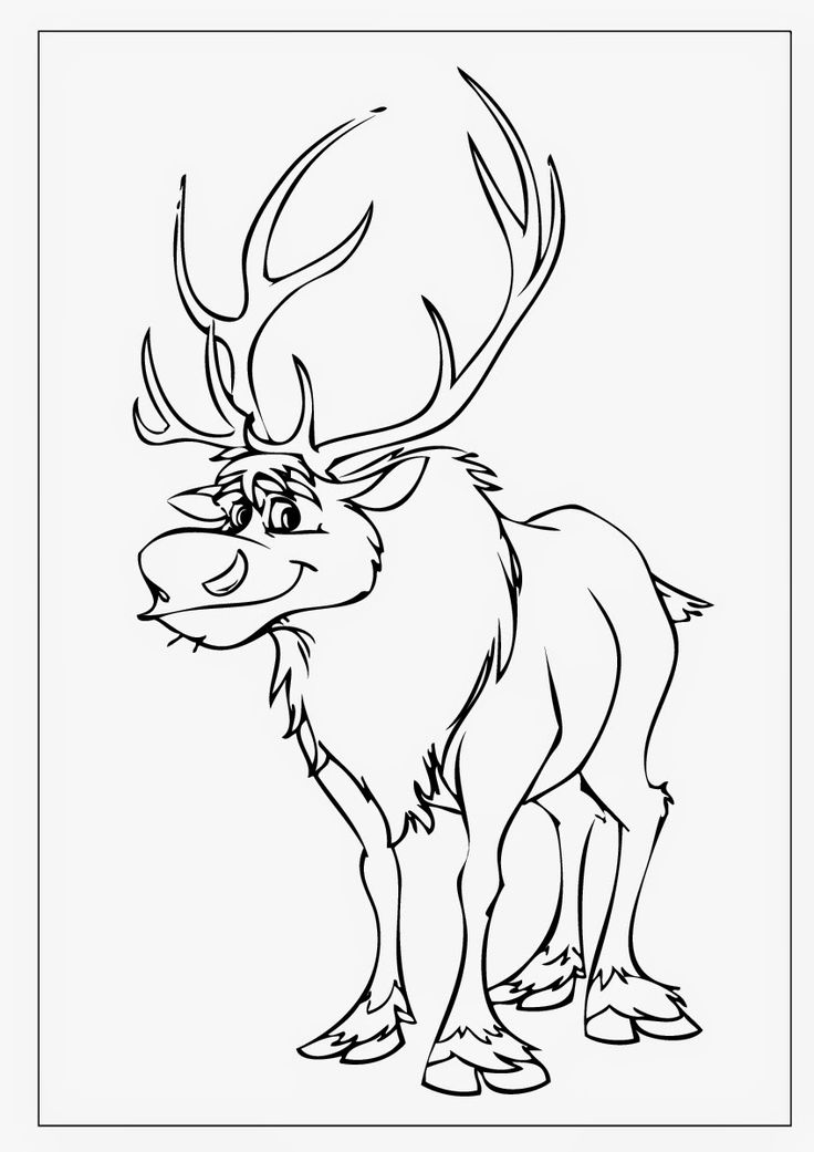 frozen coloring pages sven 03 more - Sven Reindeer Coloring Pages