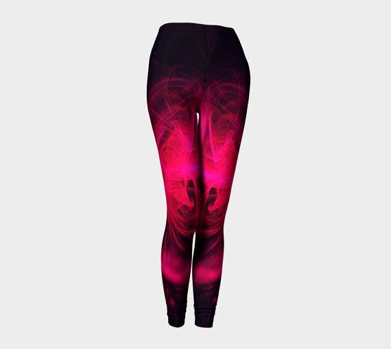 Pink fractal yoga leggings on black by Traceyleeartdesigns on Etsy