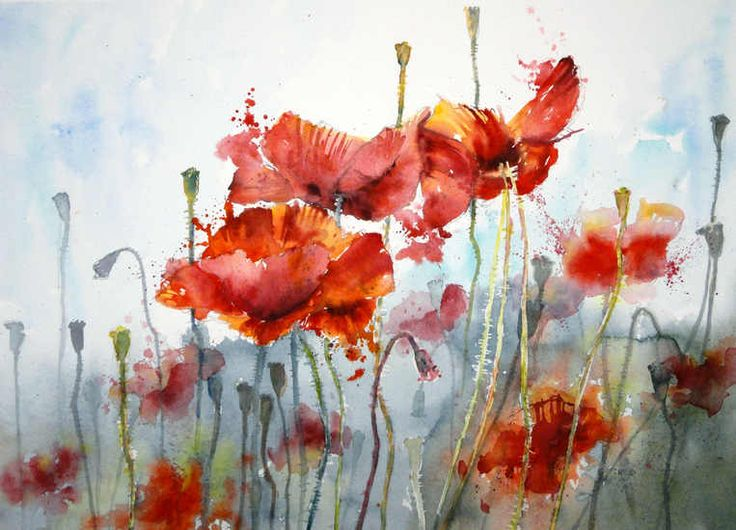 """""""Poppies"""" - by Gerard Hendriks, watercolor"""