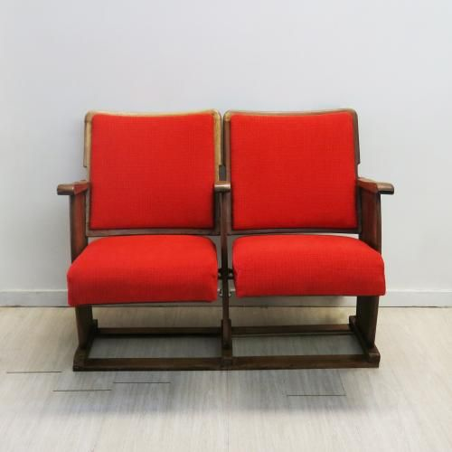 Vintage Portuguese Red Cinema Chairs for sale at Pamono