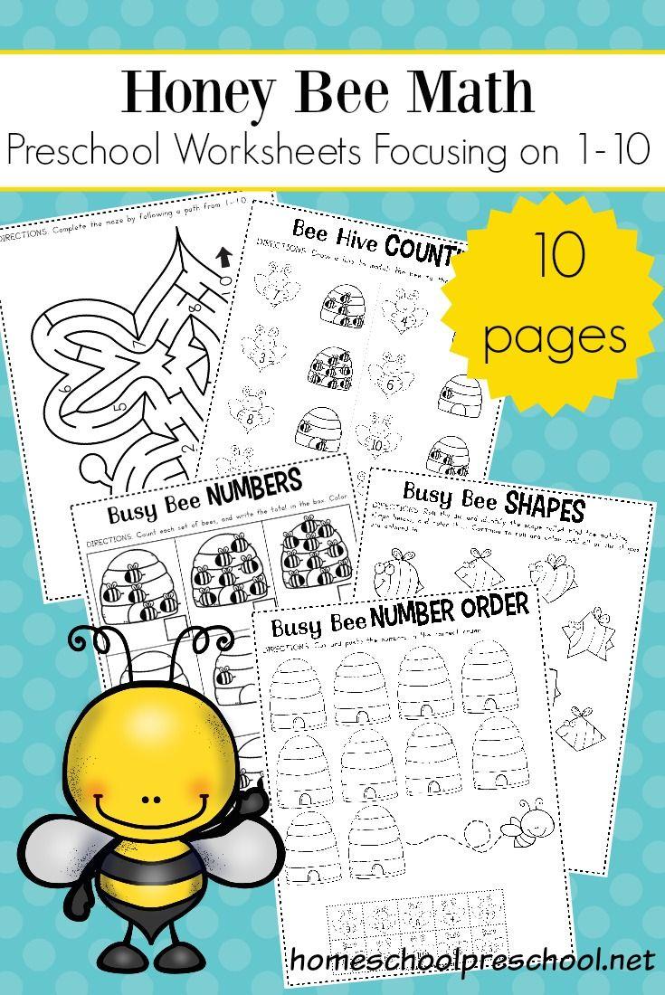 Free Preschool Honey Bee Math Worksheet Pack Math Activities Preschool Free Preschool Worksheets Preschool Math [ 1100 x 735 Pixel ]