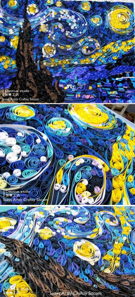 This is NOT going to be easy! Rolls of paper Star 丨 artistic creation, in addition to painting, can be cut, but also can be rolled.  Beautiful and delicate rolls of paper art, Van Gogh's starry sky.