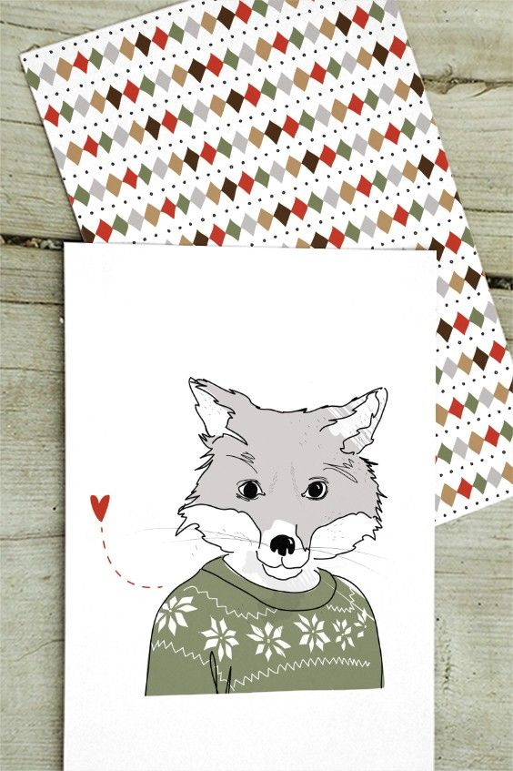 """Christmas Cards from the """"Humming in winter woodland"""" collection by Christina Heitmann. Furry Fox / Fox Tunes. #christmas #cards #christmascards #fox #woodland #nordic #nordicdesign #illustration #illustrator #heart #love #cute #animal #wildanimals #nordicanimals #pattern #christmasgreetings #greetings #shop #holidaygreetings #winter #winterfox"""