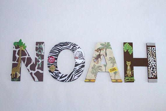 "Jungle Nursery Wall Letters, 3D Custom Wall Letters, Kids Room Decor,"" Jungle Art, Jungle Friends"", Personalized Gift, Jungle Wall Art,"
