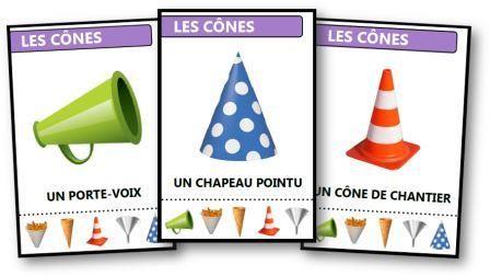 Jeu des 7 familles des formes géométriques : famille des cônes