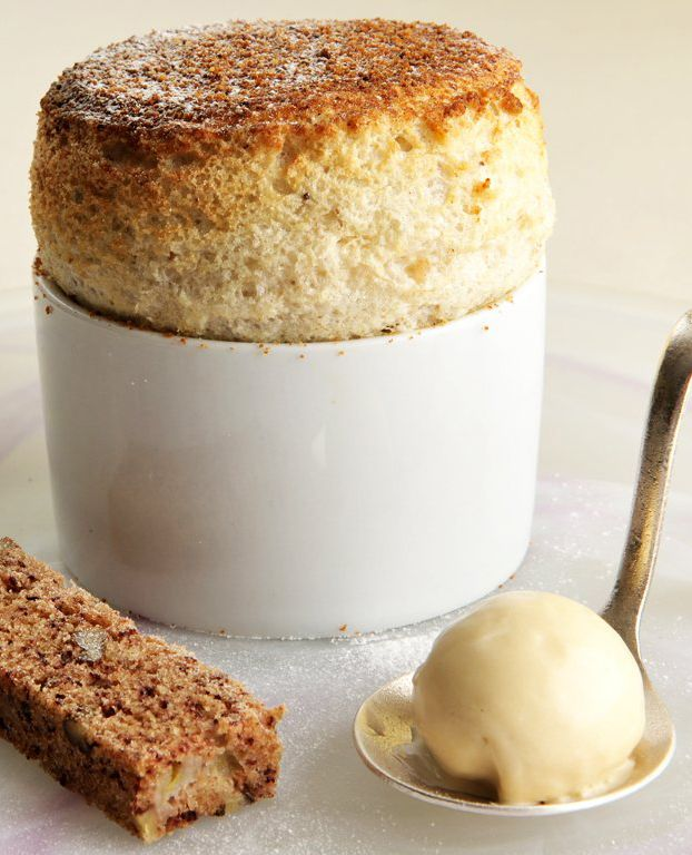 Welsh chef, James Sommerin's banana bread soufflé recipe is a great spin on traditional home-baked banana bread, using the moist cake in a soufflé alongside ice cream flavoured with condensed milk that has been boiled down to create 'dulce de leche' toffee