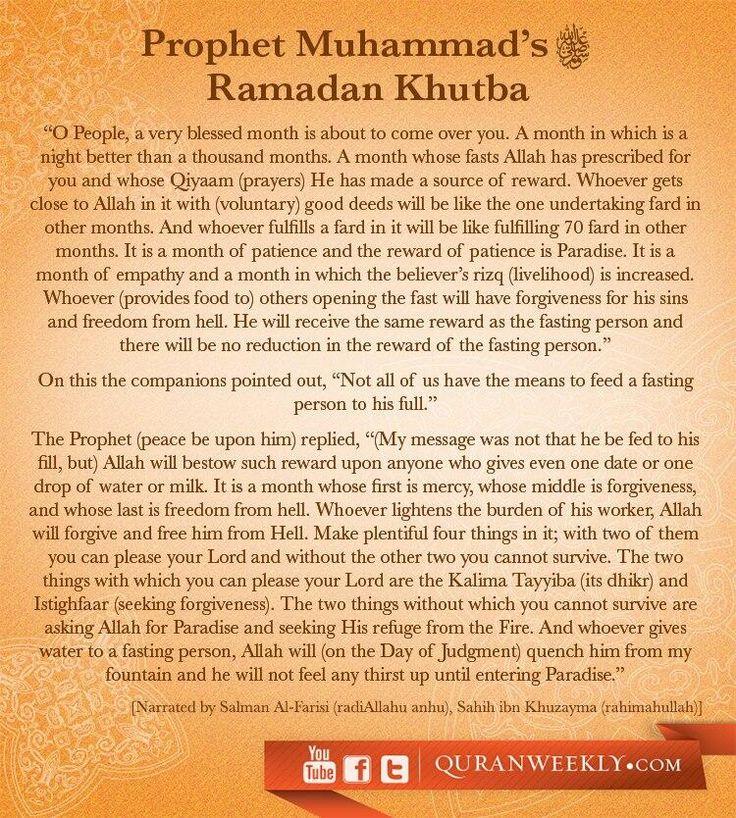 Khutba of Ramadhan by Prophet ﷺ