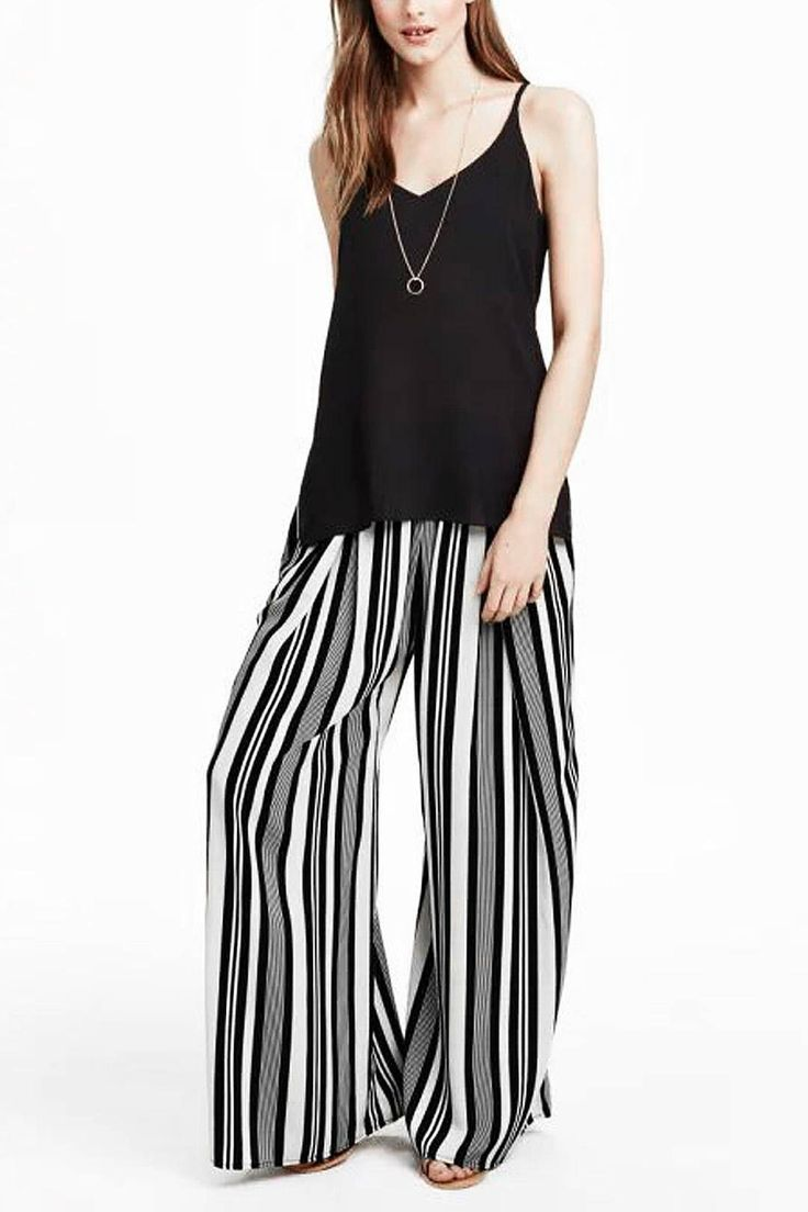 Striped Wide Leg Trouser - US$19.95 -YOINS