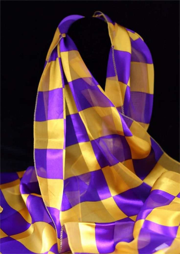chasingrainbowsforever:Checked Scarf ~ Purple and Yellow