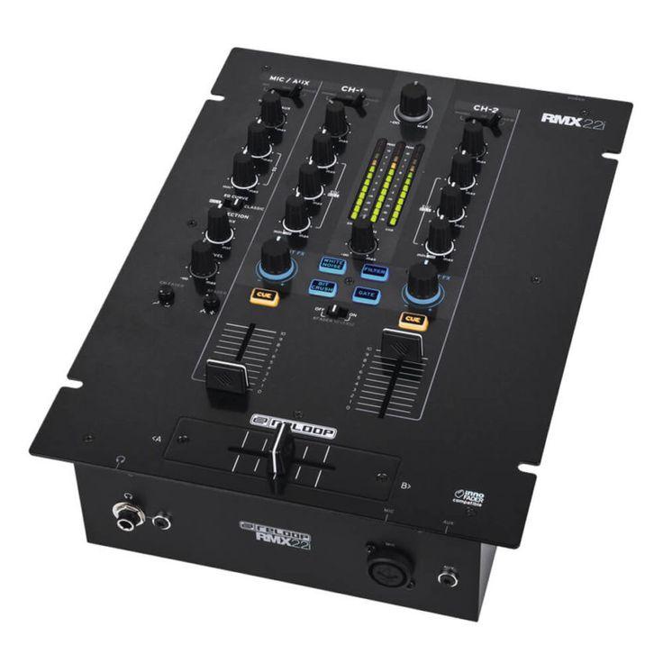 El MIxer Reloop RMX-22i es una mezcladora de DJ de 2 + 1 canales con arquitectura de audio digital, efectos instantáneos de sonido y colores integrados.