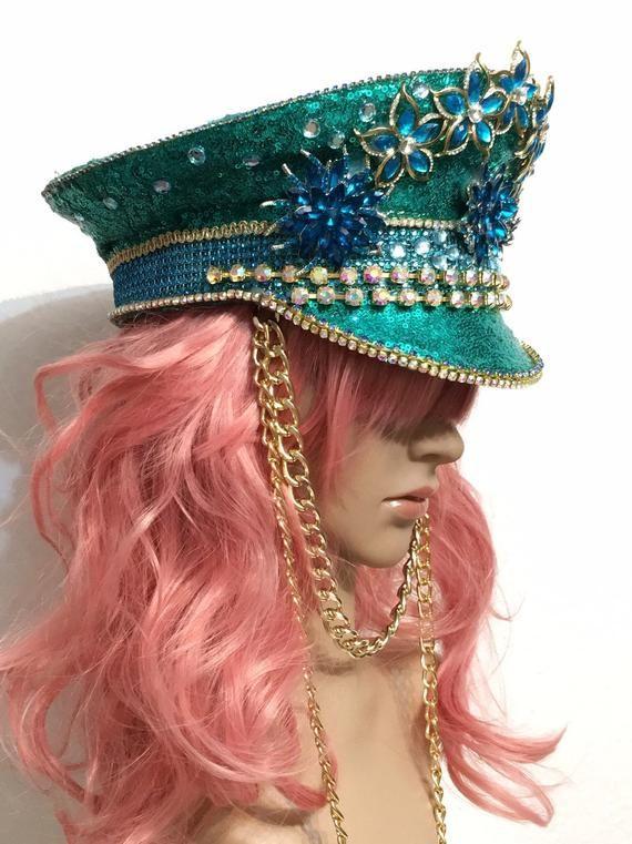 Wonderbaarlijk GREEN&BLUE ** Captain Hat | Festival Hat | Party Hat | Peaked Cap QJ-95