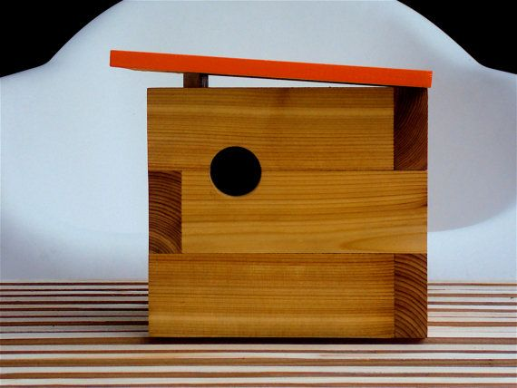 Mid Century Inspired Modern Cedar Birdhouse in Orange. $119.00, via Etsy.