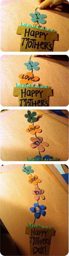 Happy Mother's Day flower pot card - be good to put the kids face as one of the flowers