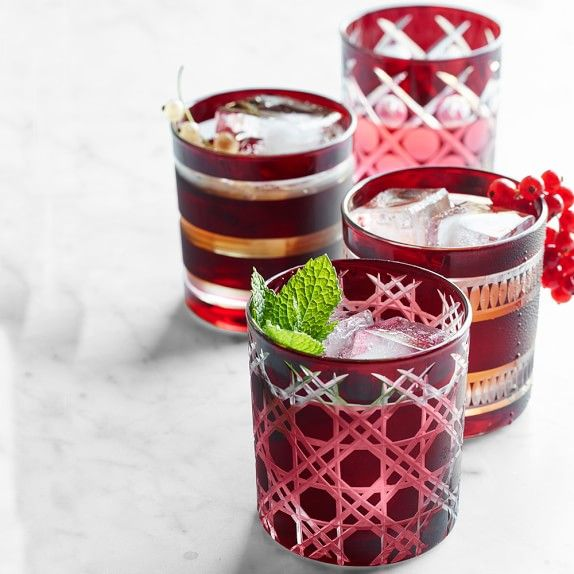 Mixed Cut Double Old-Fashioned Glasses, Set of 4, Garnet | Williams-Sonoma