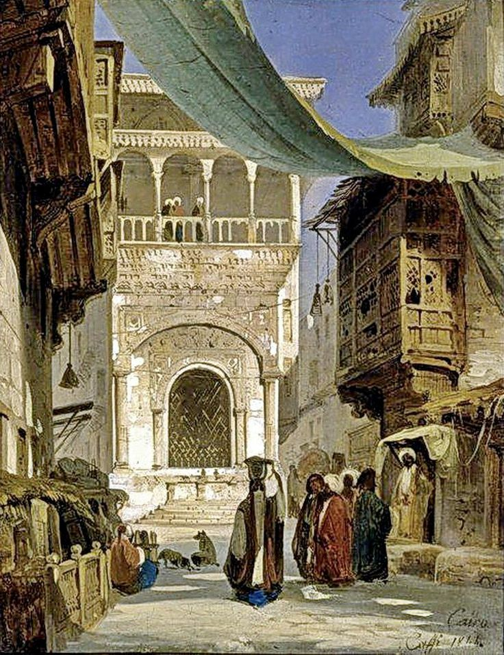 Main street of Cairo - El Moez street  Fontaine et école de 'Abd al-Rahmân Katkhûda - Sabil-Kuttab of Katkhuda  Strada principale del Cairo By Ippolito Caffi - Italian , 1814–1866 Oil on canvas