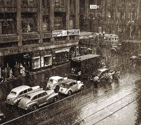 Collins St snow, Melbourne, 9 Aug 1951