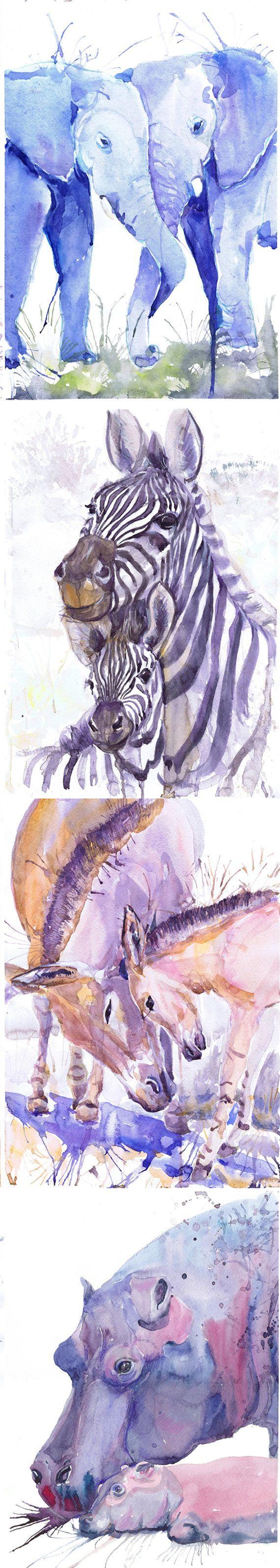 ACEO Artist Trading Cards Art Prints aquarel schilderij Jungle Safari dieren ATC Giclee, Set van 8 ondertekend Collectible card aquarel  Set van 8 ondertekend Aceo afdrukken van mijn originele aquarel schilderijen - serie portretten van het hart:  Monkey met baby Zebra met een peuter Olifant met baby Two Elephants Giraffe met baby Twee giraffen Afrikaanse ezel met baby Nijlpaard met baby  Deze mooie ACEO prints zijn een hoge kwaliteit giclee reproducties van mijn originele schilderijen…