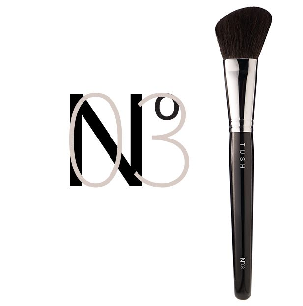Nr 03 Contour Face Brush. A precisely angled brush made of the softest natural bristles. Designed to perfectly sculpt the cheeks, facial contours and décolleté. Available at www.tushbrushes.com
