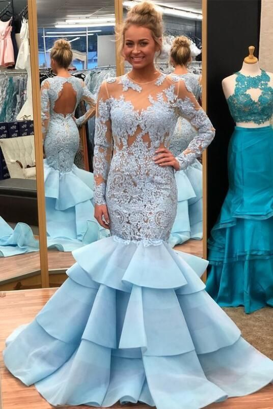 076b75e0114 Light Blue Lace Mermaid Long Sleeves Prom Dresses with Tiered Skirt in 2019
