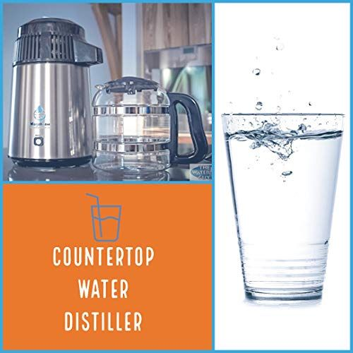 Countertop Water Distiller Stainless Steel Black With Glass Carafe The New Porcelain Nozzle Insert Megahome In 2020 Glass Carafe Distilled Water Glass Collection