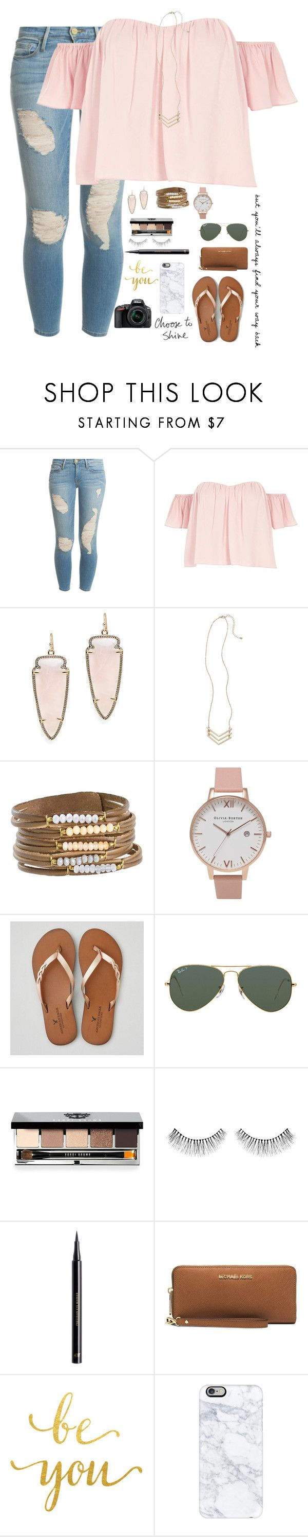 """""""•Faith is the only thing Stronger than Fear•"""" by mgpayne10 ❤ liked on Polyvore featuring Frame, River Island, Kendra Scott, Girly, Olivia Burton, American Eagle Outfitters, Ray-Ban, Bobbi Brown Cosmetics, NARS Cosmetics and H&M"""