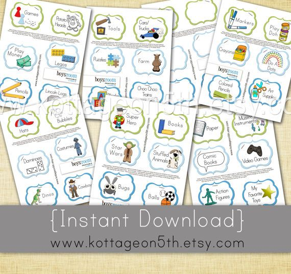 Instant Download 42 Labels   7 Files   Boys Room Bundle   Unlimited  Printable Storage Labels For Organizing Boy Toys And Games. Girl Version  Also U2026