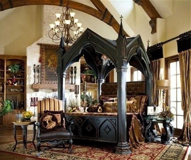 Elegant Bedroom: Impressive Gothic Bedroom Designs With Black Canopy Bed Also  Luxurious Rugs And Classic Armchair