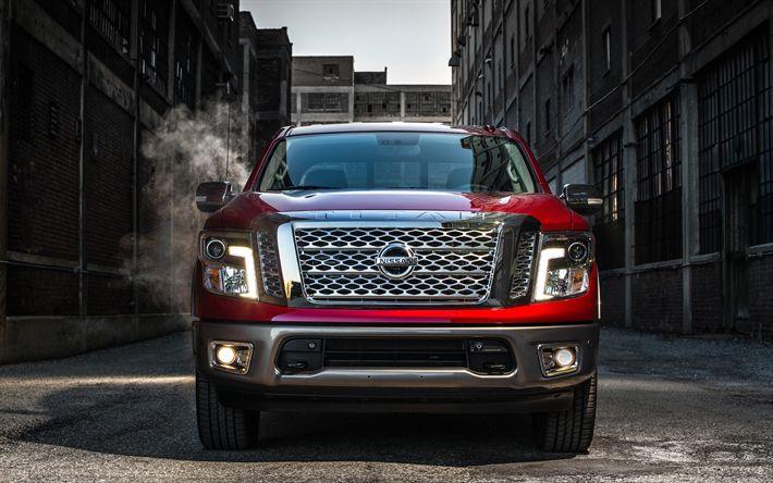 Descargar fondos de pantalla Nissan Titan, 2017, la Tripulación de Cabina, vista de Frente, camionetas, SUV, autos Japoneses, Nissan
