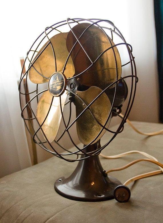 Emerson Desk Fan : Emerson electric four brass blade fan model k