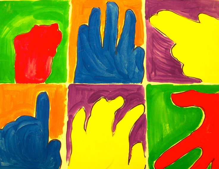 Trace hand in different poses on page. Paint with each set of complementary  colors.