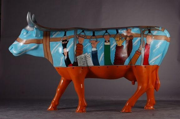 "Milano, Italy - Cows on Parade 2007 - ""Tramucca"" - 100 life size fiberglass cow statues"
