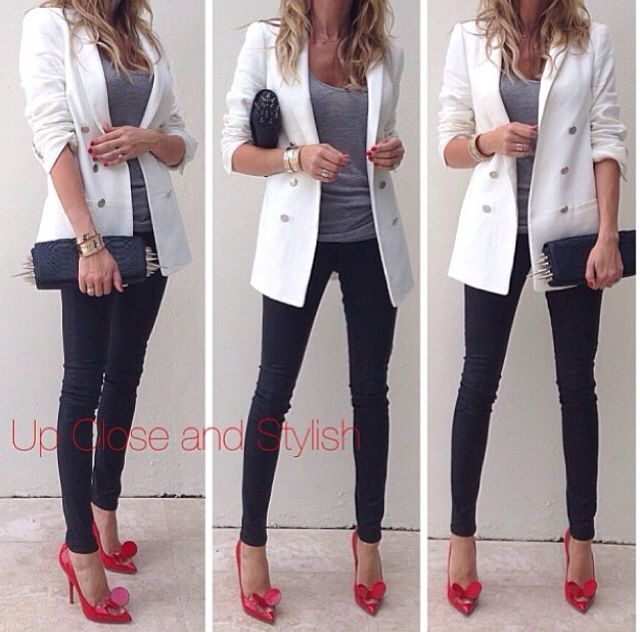 White blazer, Gray tee, Black trousers (leather for me), Red shoes, Black bag - Casual Outfit