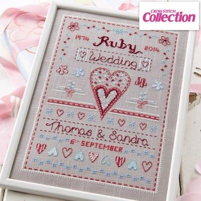 Happy anniversary cross stitch kit stitched on beautiful for Where can you get fabric