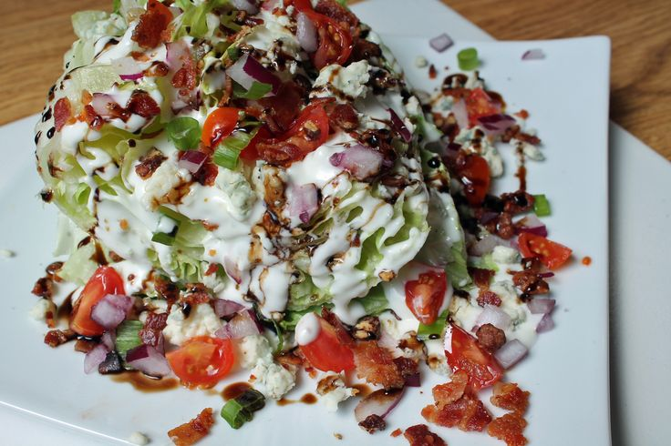 Outback Steakhouse copycat wedge salad  I used ranch instead of blue cheese dressing but still included blue cheese crumbles