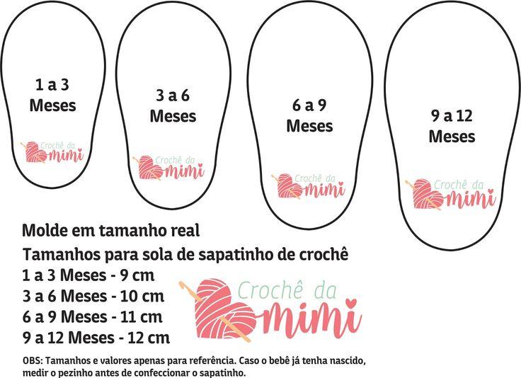 Tabela de tamanho para sola de sapatinho de crochê para bebês.