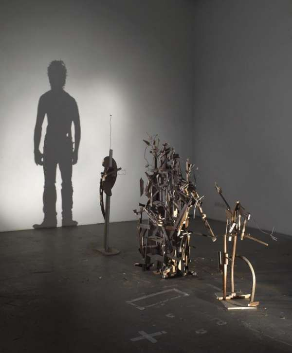 Nihilistic Optimisn Shadow Art - The Nihilistic Optimism shadow art exhibit transforms junk sculptures into human shadows. Tim Noble and Sue Webster shine a light at a particular a...