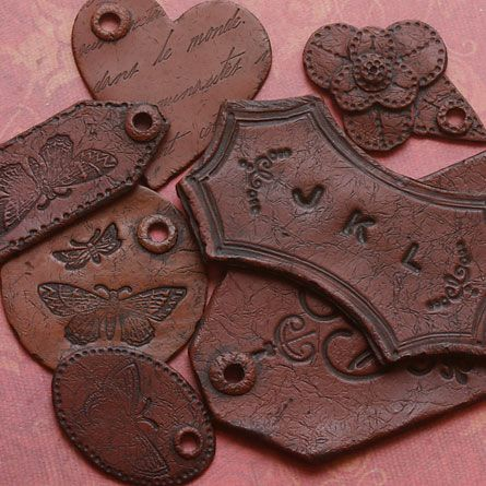 Polymer Clay Tutorial - Faux Leather Tags Would Make Great Primitive Tree Ornaments With Proper Stamp.
