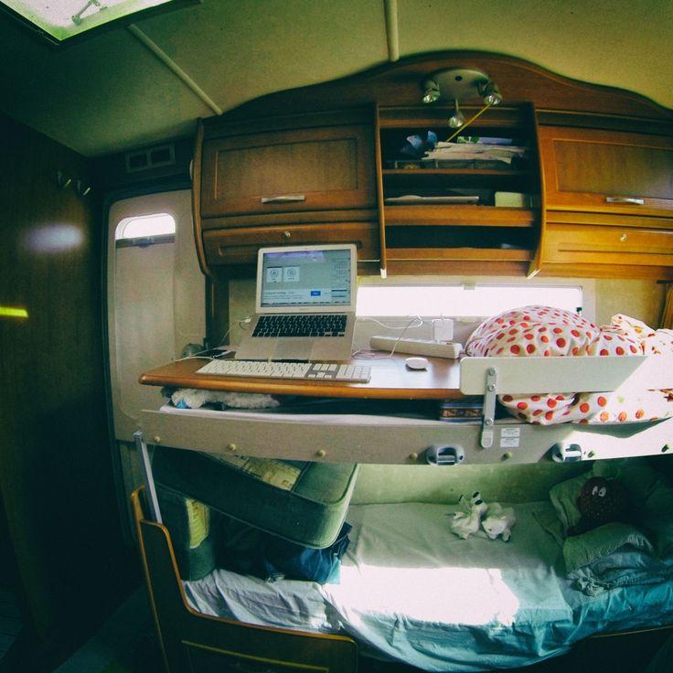 Standup Office Setup in a Caravan
