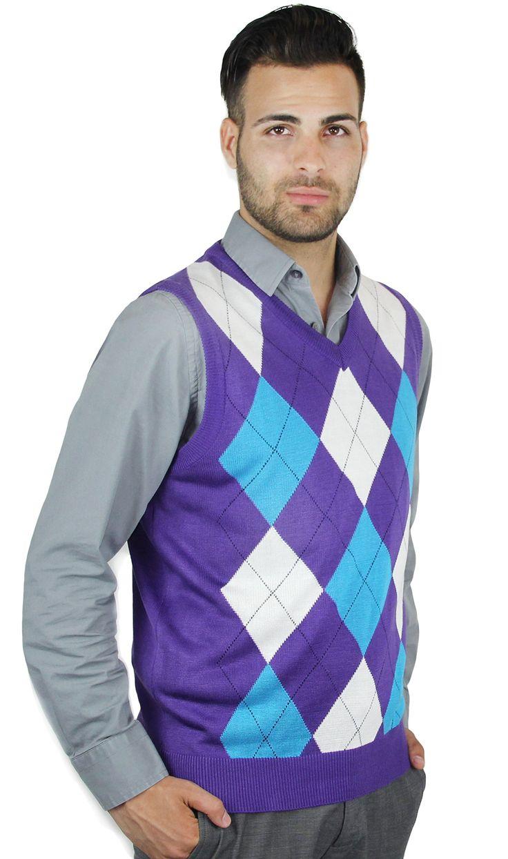 Mens Purple/Orange/Yellow Argyle Sweater Vest | Singin in the Rain ...
