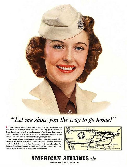Love her timeless make-up and lovely curled locks. vintage airline stewardess