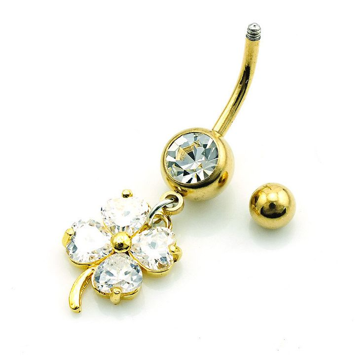 Zirconia Gold Plated Clover Belly Button Ring