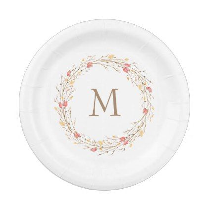 Fall Twig Wreath Monogram Paper Plate - monogram gifts unique design style monogrammed diy cyo customize