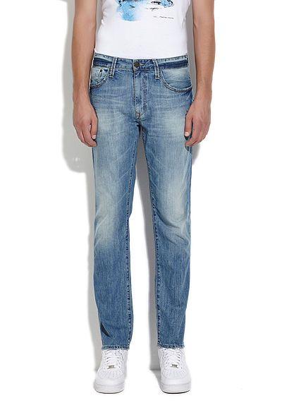 Jake Koyu Mavi Amerika Zımparalı Jean Pantolon - Pantolon - Erkek - Jean - Mavi