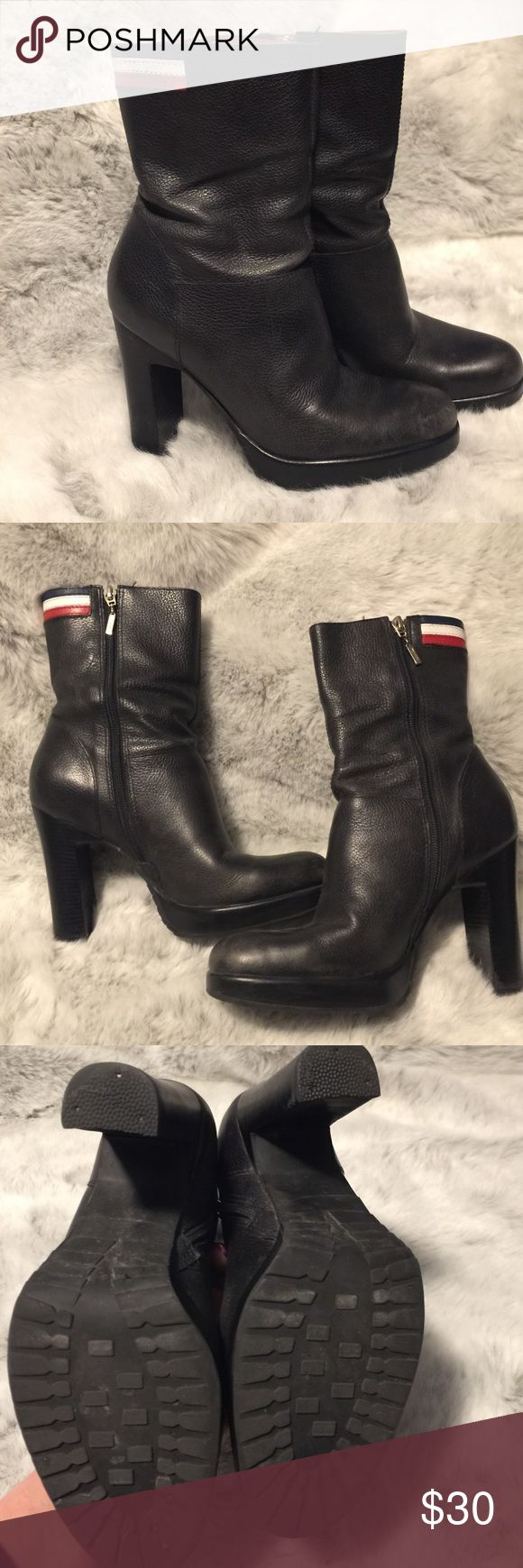 "Tommy Hilfiger black ""Cyndi"" boots size 8 1/2 Tommy Hilfiger ""Cyndi"" boots, black, size 8 1/2, heel approx 4"", in good used condition from a smoke free home. Tommy Hilfiger Shoes Heeled Boots"