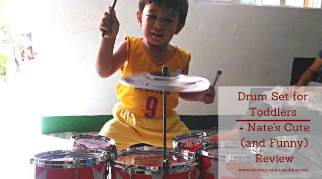 Above Precious Rubies - Mommy Blogger Philippines | Drum Set for Toddlers + Nate's Cute (and Funny) Review | drum set for toddlers, kid toy review, Lazada, Lazada orders, Lazada Philippines, nate reviews, online purchase, toddler, toddler activities, toddler and music, toddler toy review | http://www.abovepreciousrubies.com/2017/03/drum-set-for-toddlers-nates-cute-and.html